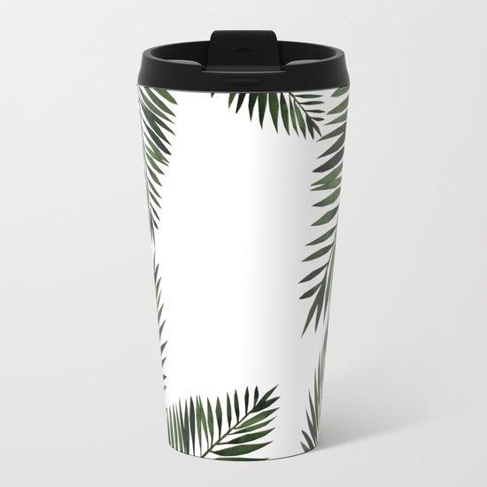 Watercolor tropical palm leaves Metal Travel Mug