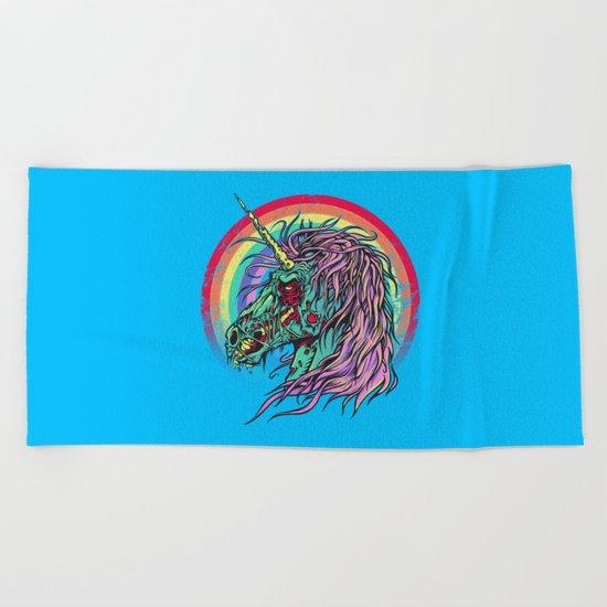 Zombie Unicorn Beach Towel