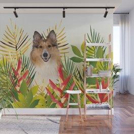 Collie Dog sitting in Garden Wall Mural