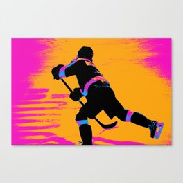 He Shoots! - Hockey Player Canvas Print