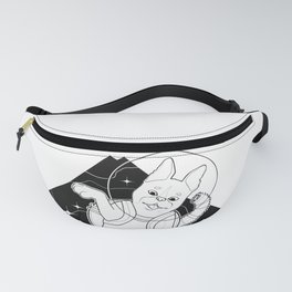 Look to the Stars #3 - Space Boston Terrier (black and white) Fanny Pack