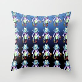 Young witch with fire magic manga pattern Throw Pillow