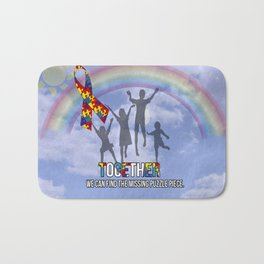 Autism,Together we can find the missing puzzle piece, Bath Mat