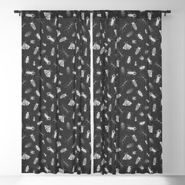 Insects Pattern on Black Blackout Curtain