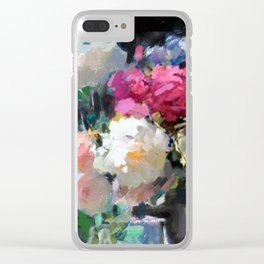 Still Life with White & Pink Roses Clear iPhone Case