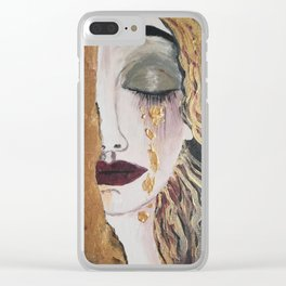 Woman in gold, Painting, Acrylic, The kiss, Kiss, Klimt inspired, Golden age Clear iPhone Case