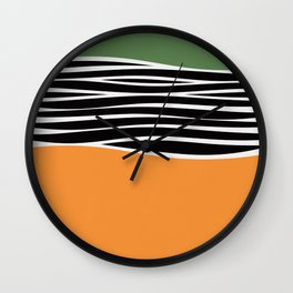 Irregular Shapes & Stripes / Green & Orange Wall Clock
