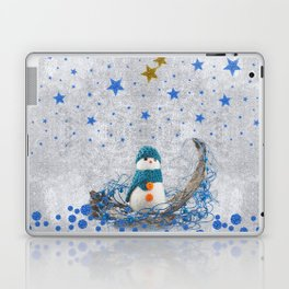 Snowman with sparkly blue stars Laptop & iPad Skin