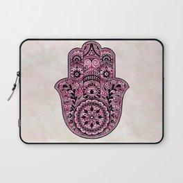 Watercolor Black  Pink Hamsa Hand Laptop Sleeve
