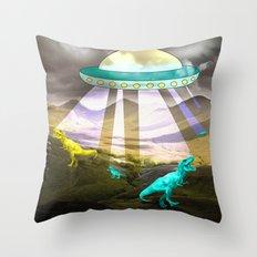 Aliens do exist - dino exctinction event Throw Pillow
