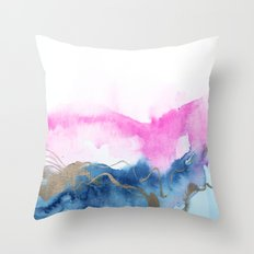 Abstract Watercolor Pink Blue Throw Pillow