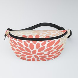 Floral Pattern, Orange, Red, Peach, Pale Yellow, Flowers Print Fanny Pack