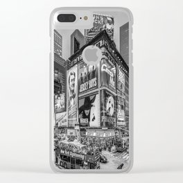 Times Square III Special Edition I (black & white) Clear iPhone Case