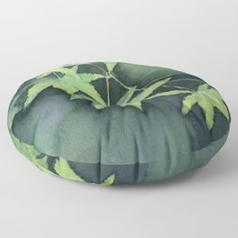 Japanese Maple Watercolor Green Leaves Floor Pillow