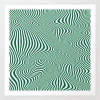 DISTORTION GREEN Art Print