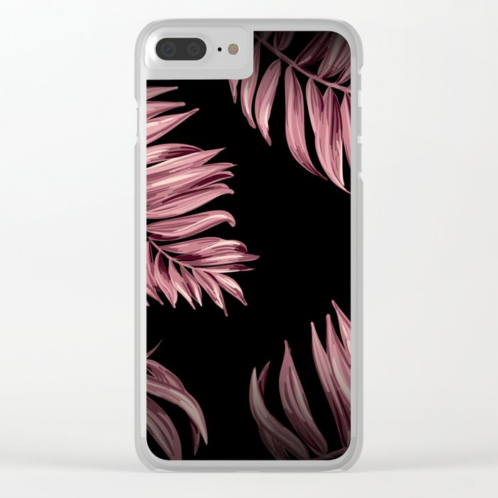 Rose Pink Palm Leaves Clear iPhone Case