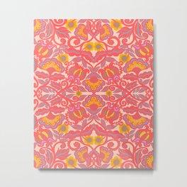 Pink Vines and Folk Art Flowers Patterns Metal Print