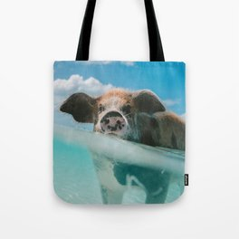 Pig in water Tote Bag