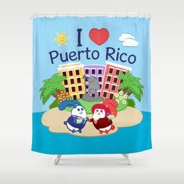 Ernest & Coraline | I love Puerto Rico Shower Curtain
