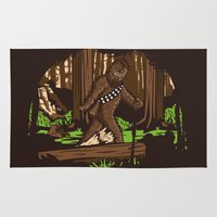 bigfoot Area & Throw Rugs featuring The Bigfoot of Endor by Hoborobo