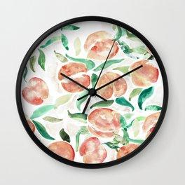 Watercolor Peaches Wall Clock