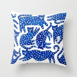 Cat club Throw Pillow