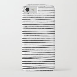 Black Brush Lines on White iPhone Case