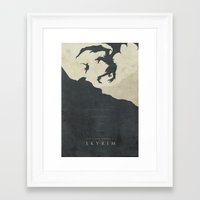 skyrim Framed Art Prints featuring Dawning Fire - Skyrim Poster by Edward J. Moran II