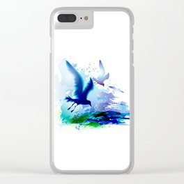 Birds flying. Sea, ocean watercolor gulls with waves. Dark blue water. Clear iPhone Case