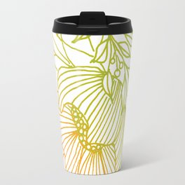 Tangerine and Olive Flowery Linocut Wreath Travel Mug