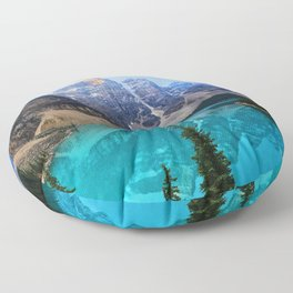 Moraine Lake 4k sunrise Banff National Park blue lake North America mountains Canada Floor Pillow