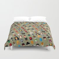 superheroes Duvet Covers featuring SuperHeroes by Luca Giobbe