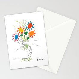 Picasso le bouquet colorful floral positive wall art, anti war print, room decor, picasso Stationery Cards