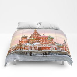 Snowy St. Basil's Cathedral Comforters