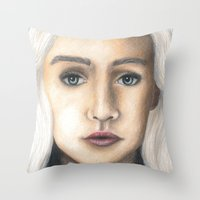 mother of dragons Throw Pillows featuring Mother of Dragons by Eleanor Dapre