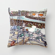 The Harbour 2, Figueira Da Foz, Portugal Throw Pillow
