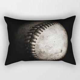 Battered Baseball in Black and White Rectangular Pillow