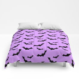 Black Bat Pattern on Purple Comforters