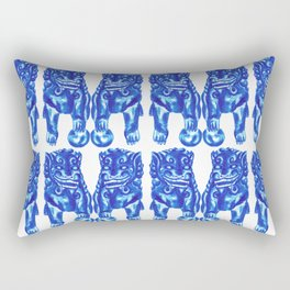 Chinese Guardian Lion Twins in Blue Porcelain Rectangular Pillow