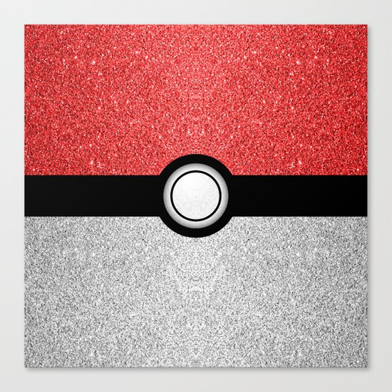 Sparkly red and silver sparkles poke ball Canvas Print