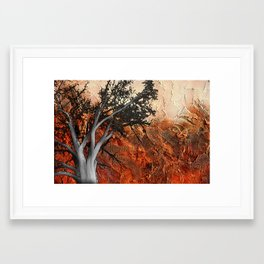 Red Abstract Landscape - orange red print  Framed Art Print