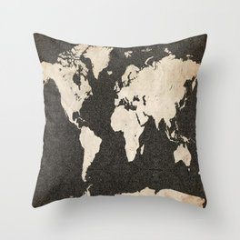 World Map - Ink lines Throw Pillow