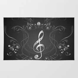 Clef with floral elements Rug