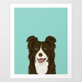 Border Collie chocolate brown cute working dog breed herding dogs gift for border collie owner pets Art Print