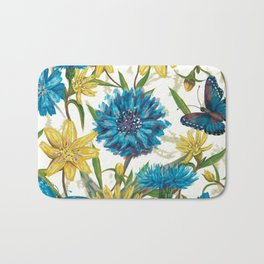 Seamless floral pattern with flowers and butterfly Bath Mat