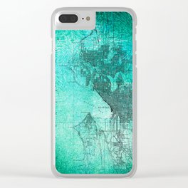 Turquoise Seattle Map Design Clear iPhone Case