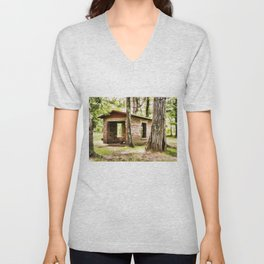 Abandoned brick building in the woods Unisex V-Neck