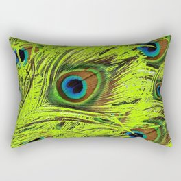 PURPLE ART NOUVEAU GREEN PEACOCK FEATHERS ABSTRACT ART Rectangular Pillow
