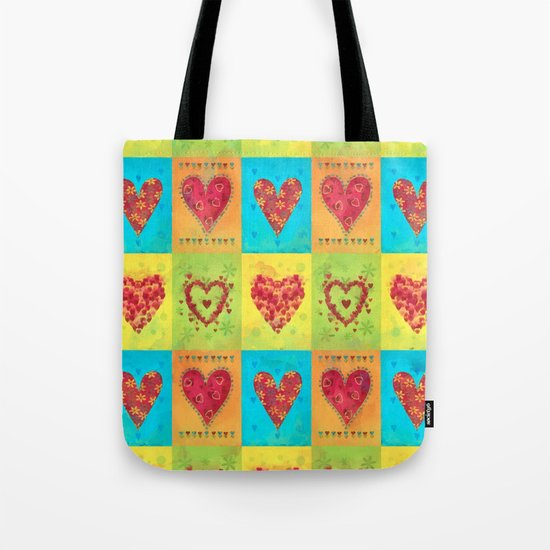 Colorful hearts pattern Tote Bag
