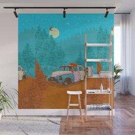 FOX & OLD RUSTY CAR Wall Mural